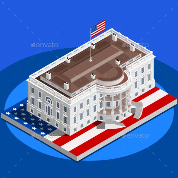 Election Infographic White House US Vector Isometric Building