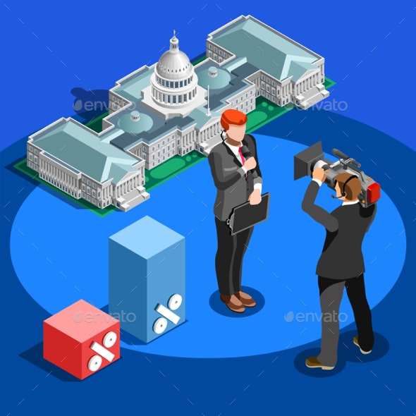 Election News Infographic Capitol Dome Vector Isometric People - Media Technology