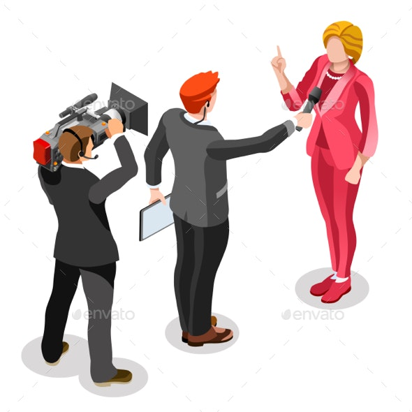 Election News Infographic Interview News Vector Isometric People - Media Technology