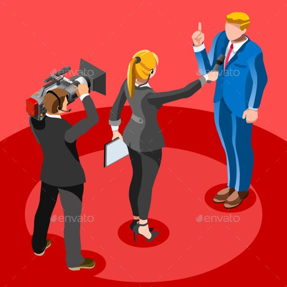 Election News Infographic Latest News Vector Isometric People