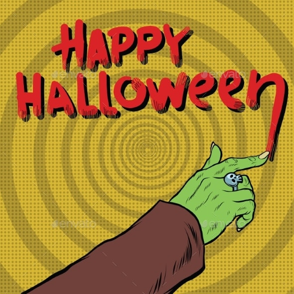 Happy Halloween Monster Draws Blood - Halloween Seasons/Holidays