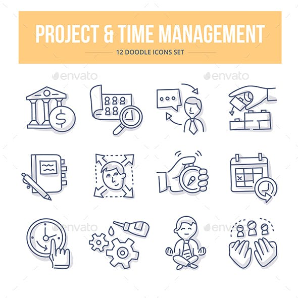 Project & Time Management Doodle Icons