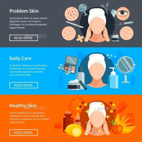 Skin Care Flat Horizontal Banners