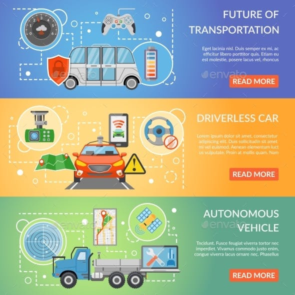 Driverless Car Autonomous Vehicle Banners