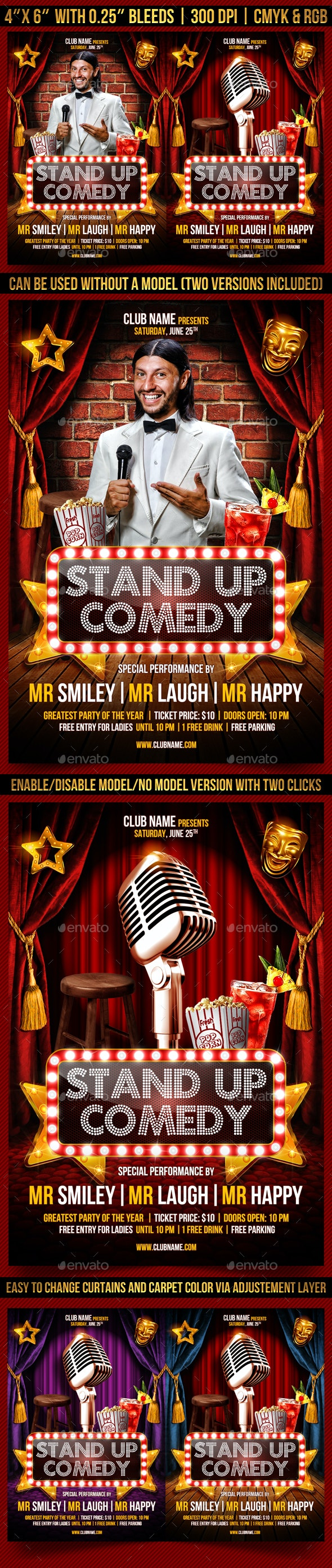 Stand Up Comedy Flyer Temlapte - Clubs & Parties Events
