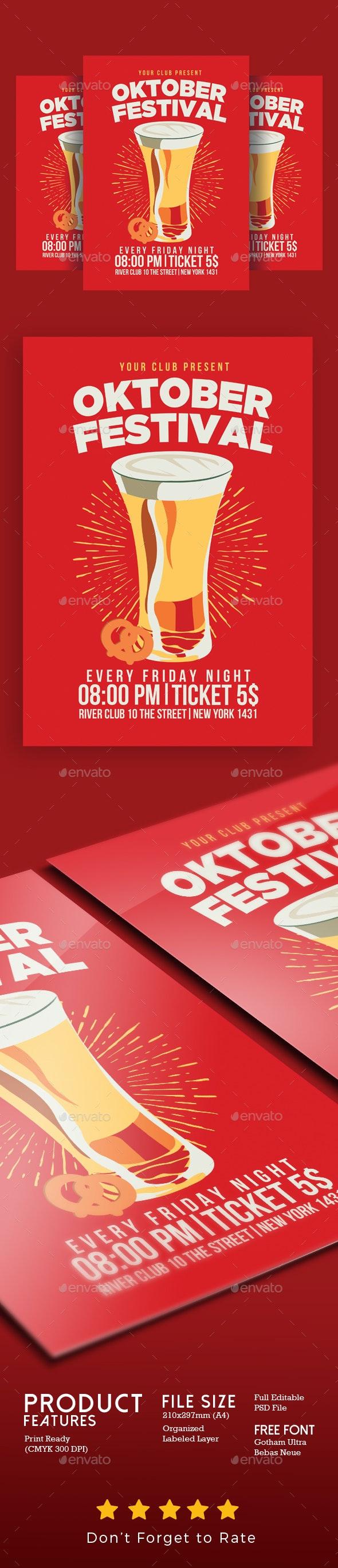 Oktober Fest Flyer Vintage Style - Clubs & Parties Events