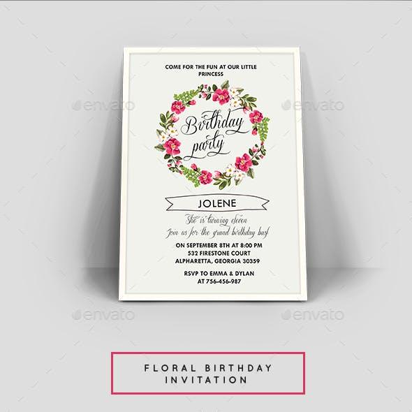 Floral Birthday Invitation Card