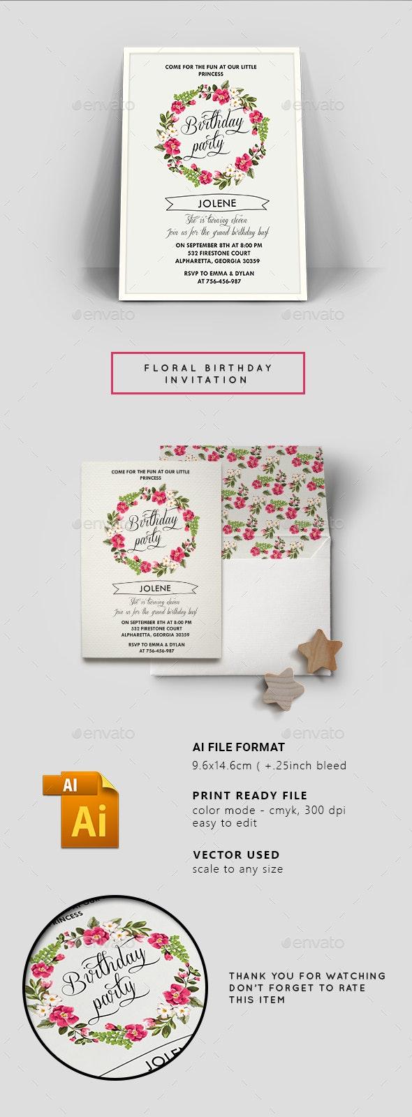 Floral Birthday Invitation Card - Birthday Greeting Cards
