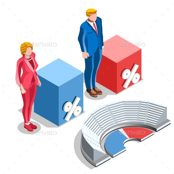 Election Infographic Congress US Isometric People