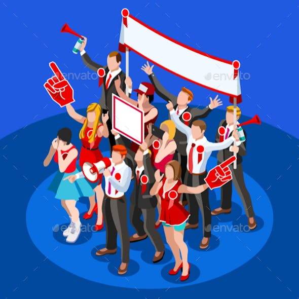 Election Infographic Crowd Party Affiliate Isometric People