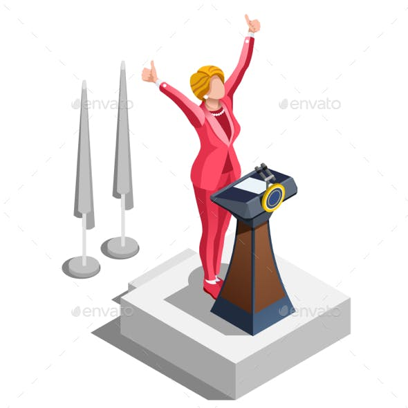 Election Infographic Political Congress Vector Isometric People