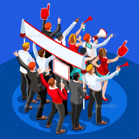 Election Infographic Theatre Audience Vector Isometric People