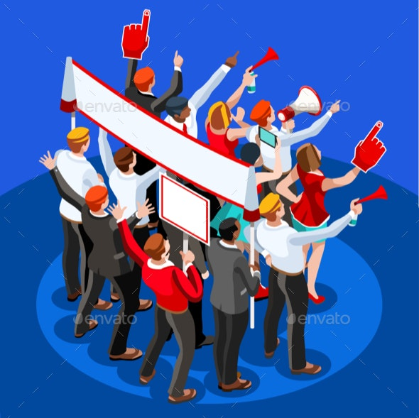Election Infographic Theatre Audience Vector Isometric People - Vectors