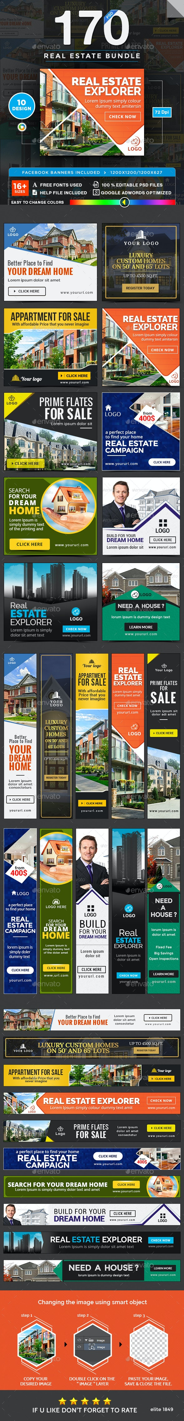 Real Estate Banners Bundle - 10 Sets - 170 Banners - Banners & Ads Web Elements