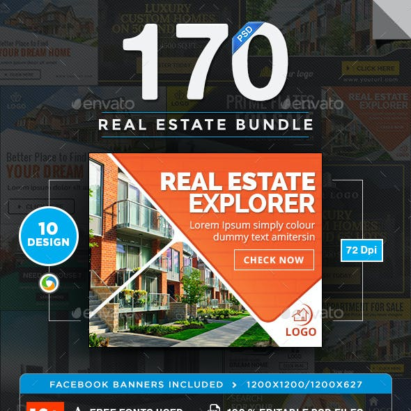 Real Estate Banners Bundle - 10 Sets - 170 Banners