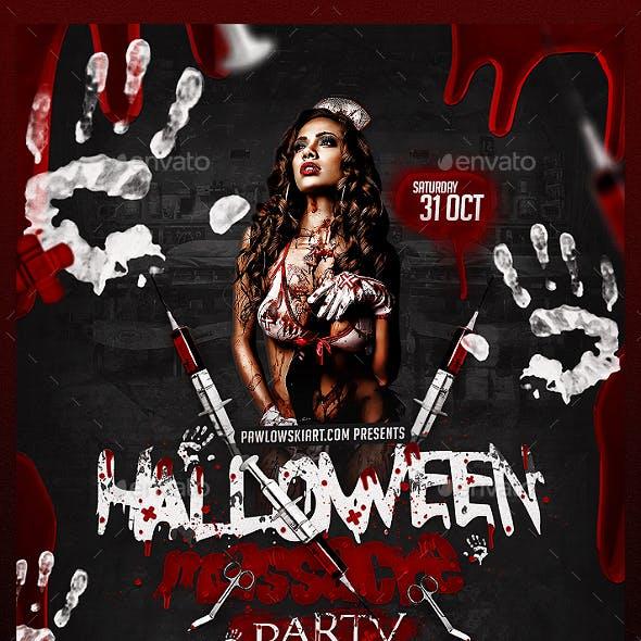 Halloween Massacre Party Flyer PSD Template