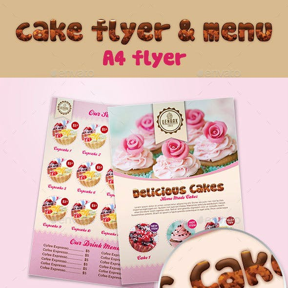 A4 Cake Flyer and Menu