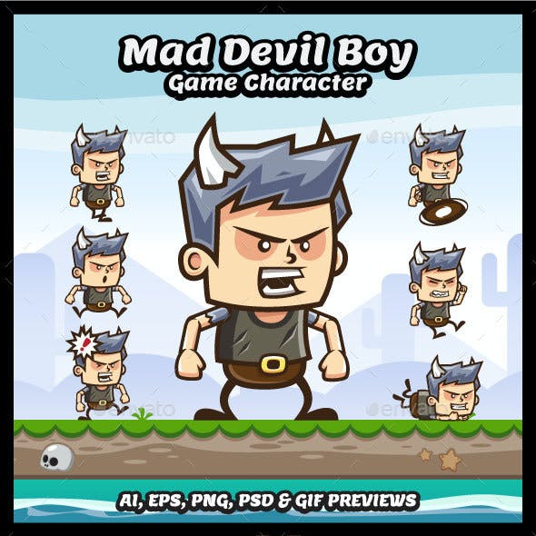 Mad Devil Boy Game Character Sprite Sheets