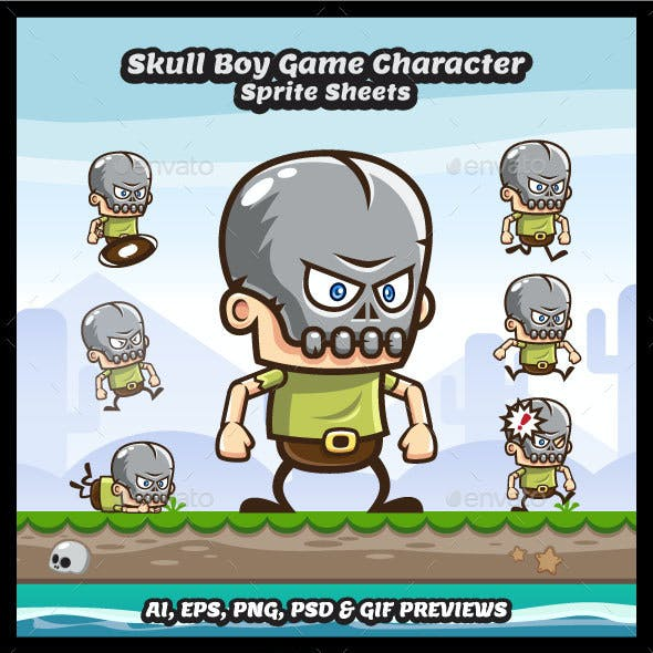 Skull Boy Game Character Sprite Sheets