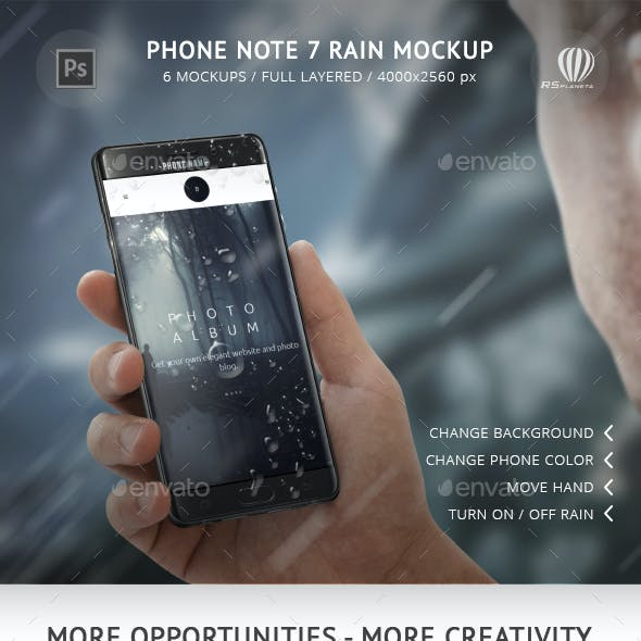 Phone Note 7 Rain Mockup