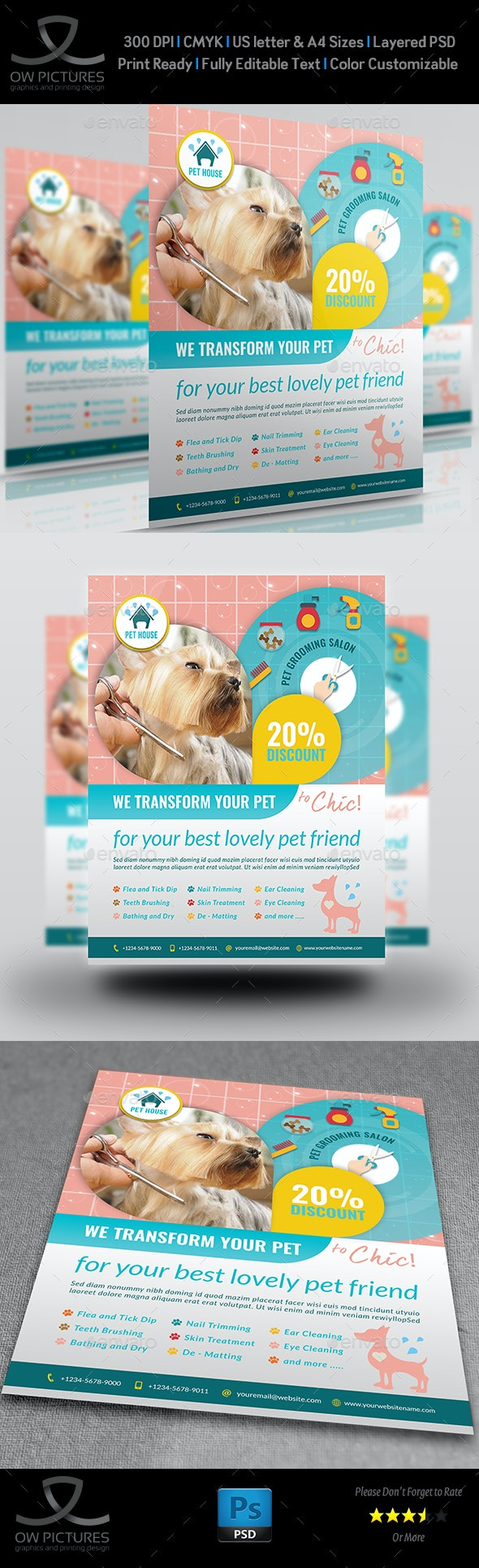 Pet Grooming Salon Flyer Template - Commerce Flyers
