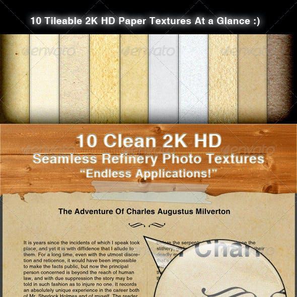 10 Clean 2K HD Tileable Paper Textures