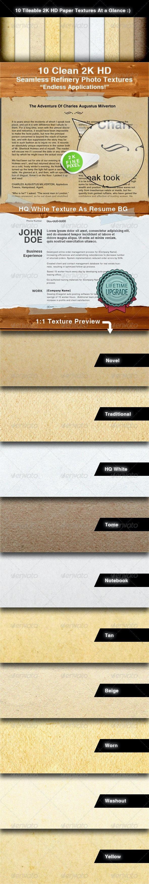 10 Clean 2K HD Tileable Paper Textures - Backgrounds Graphics