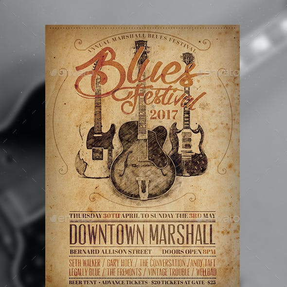 Blues Fest Vintage Flyer