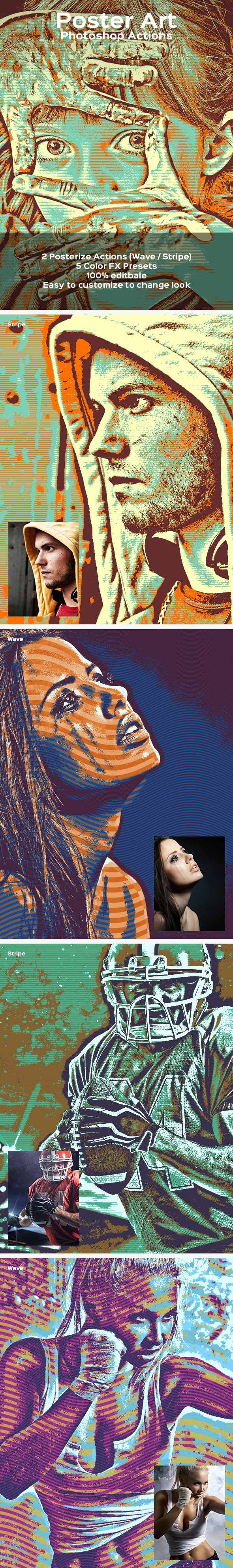 Poster Art - Photoshop Action - Photo Effects Actions