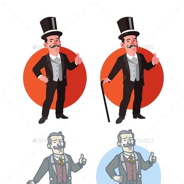 Old Aristocrat Flat Cartoon