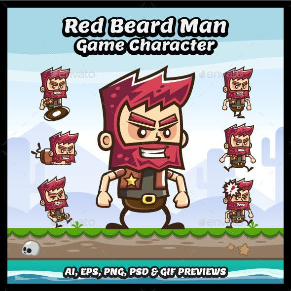 Red Beard Old Man Game Character Sprite Sheets
