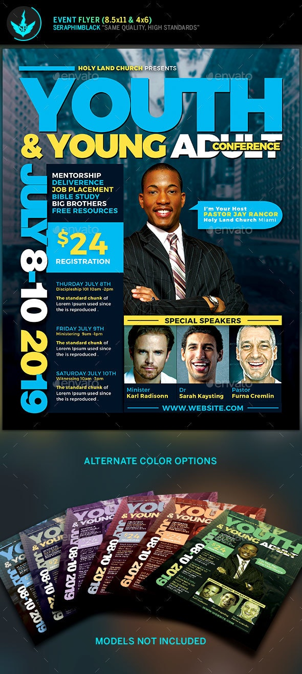 Youth & Young Adult Conference Flyer Template - Church Flyers