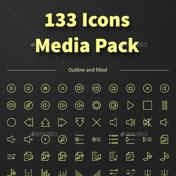 MEDIA icons set. 133 outline and filled icons.