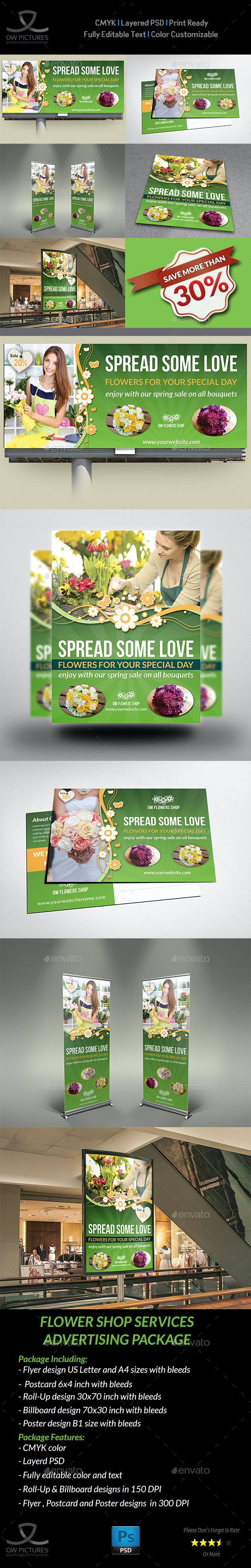 Flowers Shop Service Advertising Bundle - Signage Print Templates