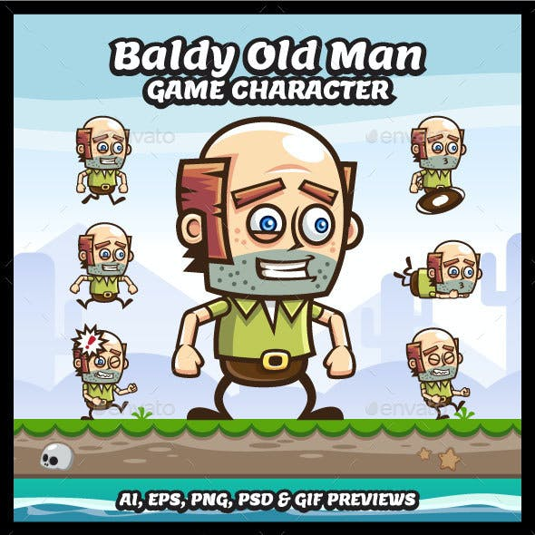 Baldy Old Man Game Character Sprite Sheets