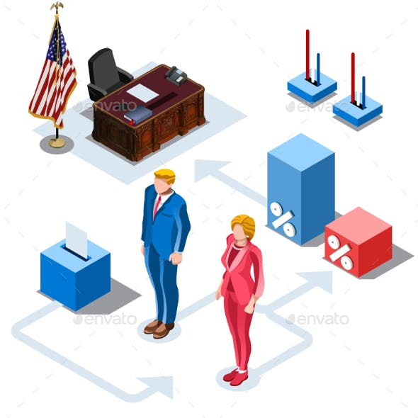 Election Infographic US Presidents Vector Isometric People