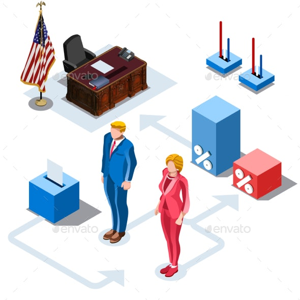 Election Infographic US Presidents Vector Isometric People - People Characters