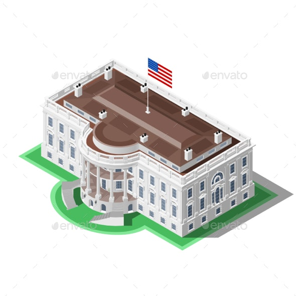 Election Infographic US White House Vector Isometric Building - Buildings Objects