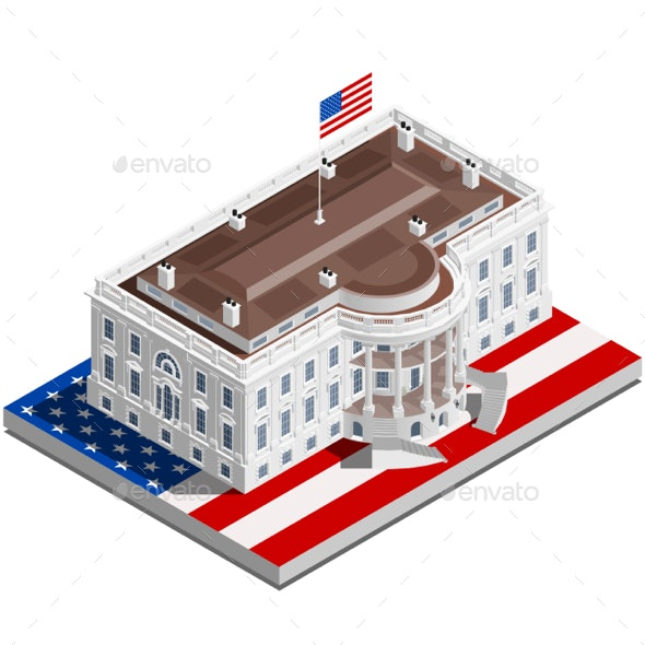 Election Infographic USA White House Vector Isometric Building - Buildings Objects