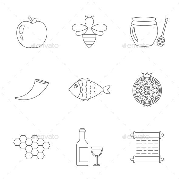 Rosh Hashanah, Shana Tova Linear Icons