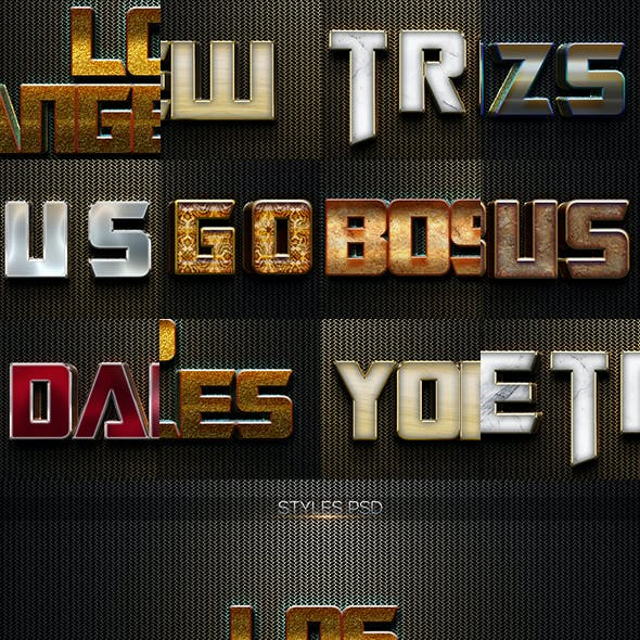 10 3D Text Style W001-2