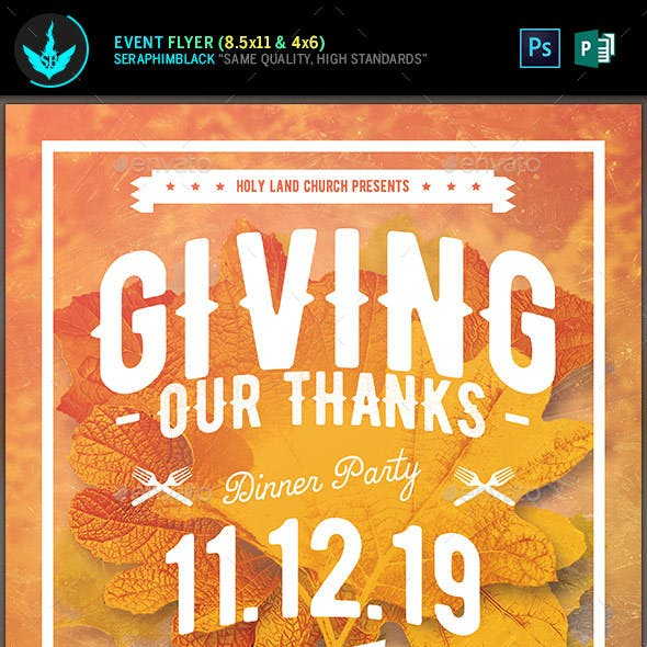 Giving Thanks Holiday Flyer Template