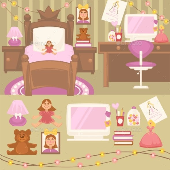 Set Of Furniture For Girls.