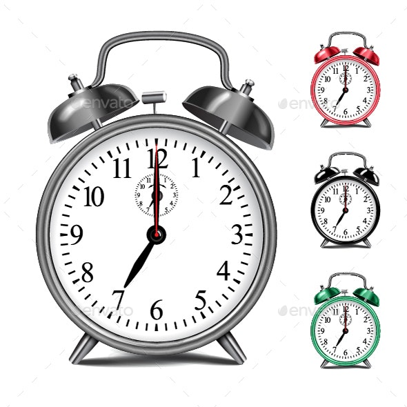 Alarm Clock Template with Movable Arrows - Man-made Objects Objects