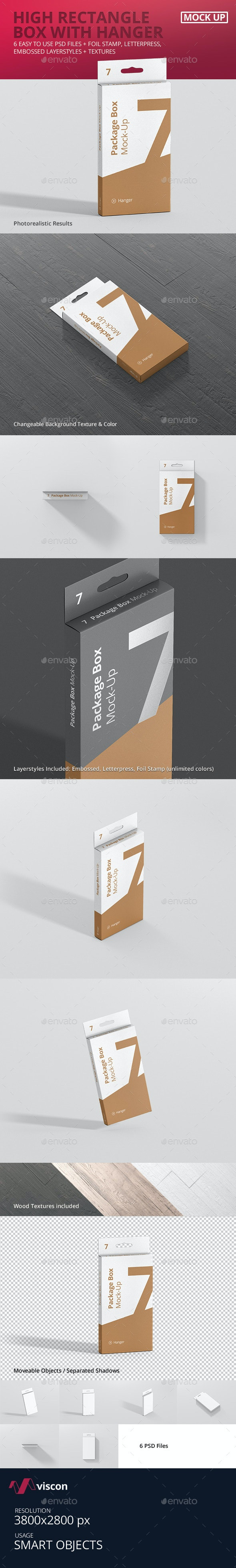 Package Box Mock-Up - High Rectangle with Hanger - Miscellaneous Packaging