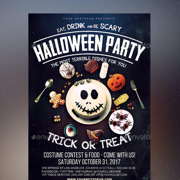 Halloween Party Treats Flyer
