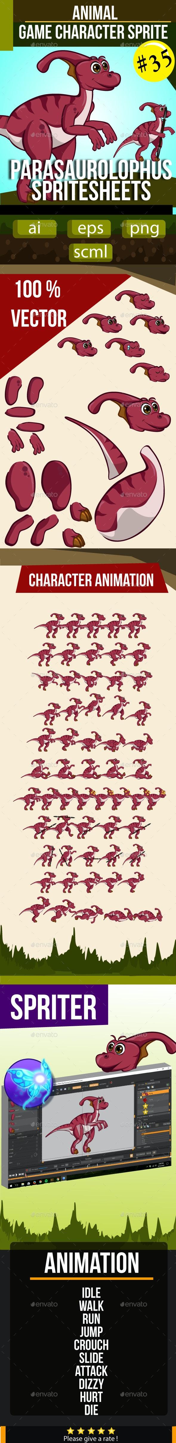 Parasaurolophus Dinosaurus Sprite Character - Sprites Game Assets