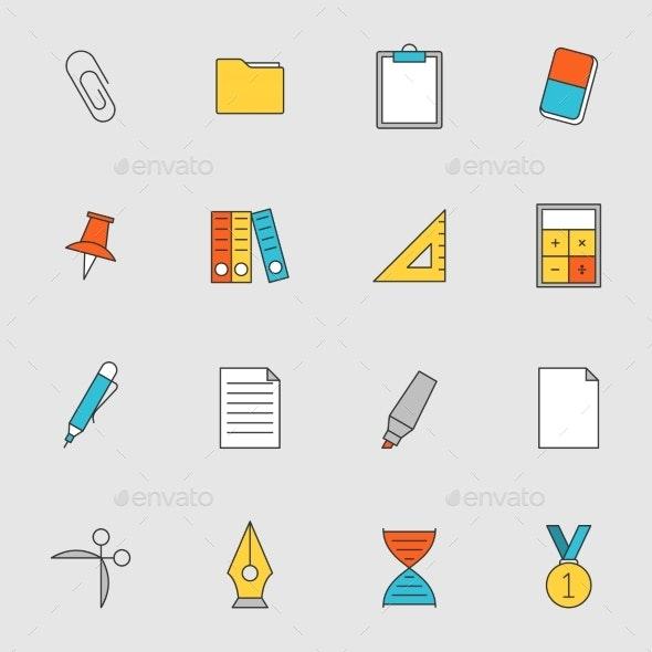 School Education Flat Line Icons Vol 2 - Icons