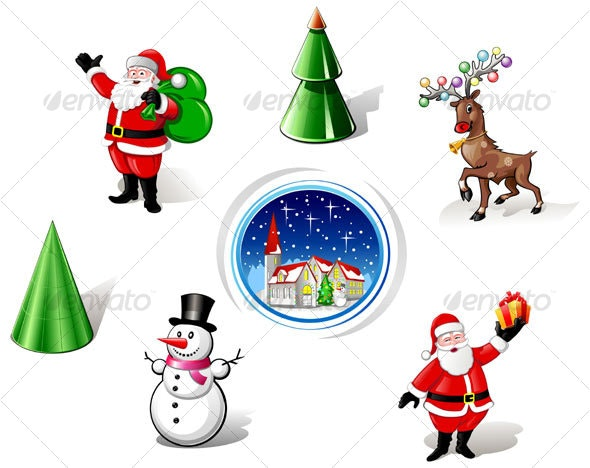 Christmas Santa, Snowman and Deer Iconset - Characters Vectors