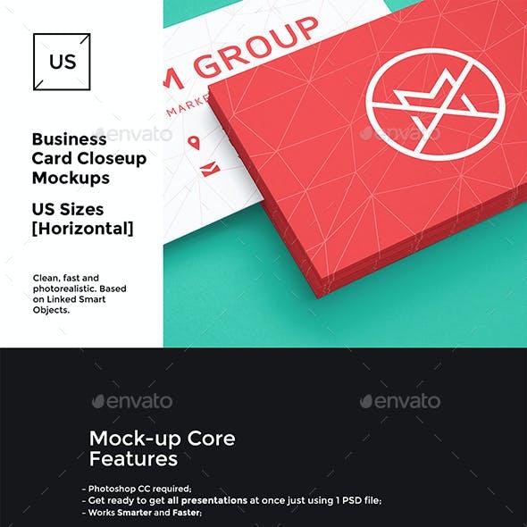 US Business Cards Mockups [close-up set]